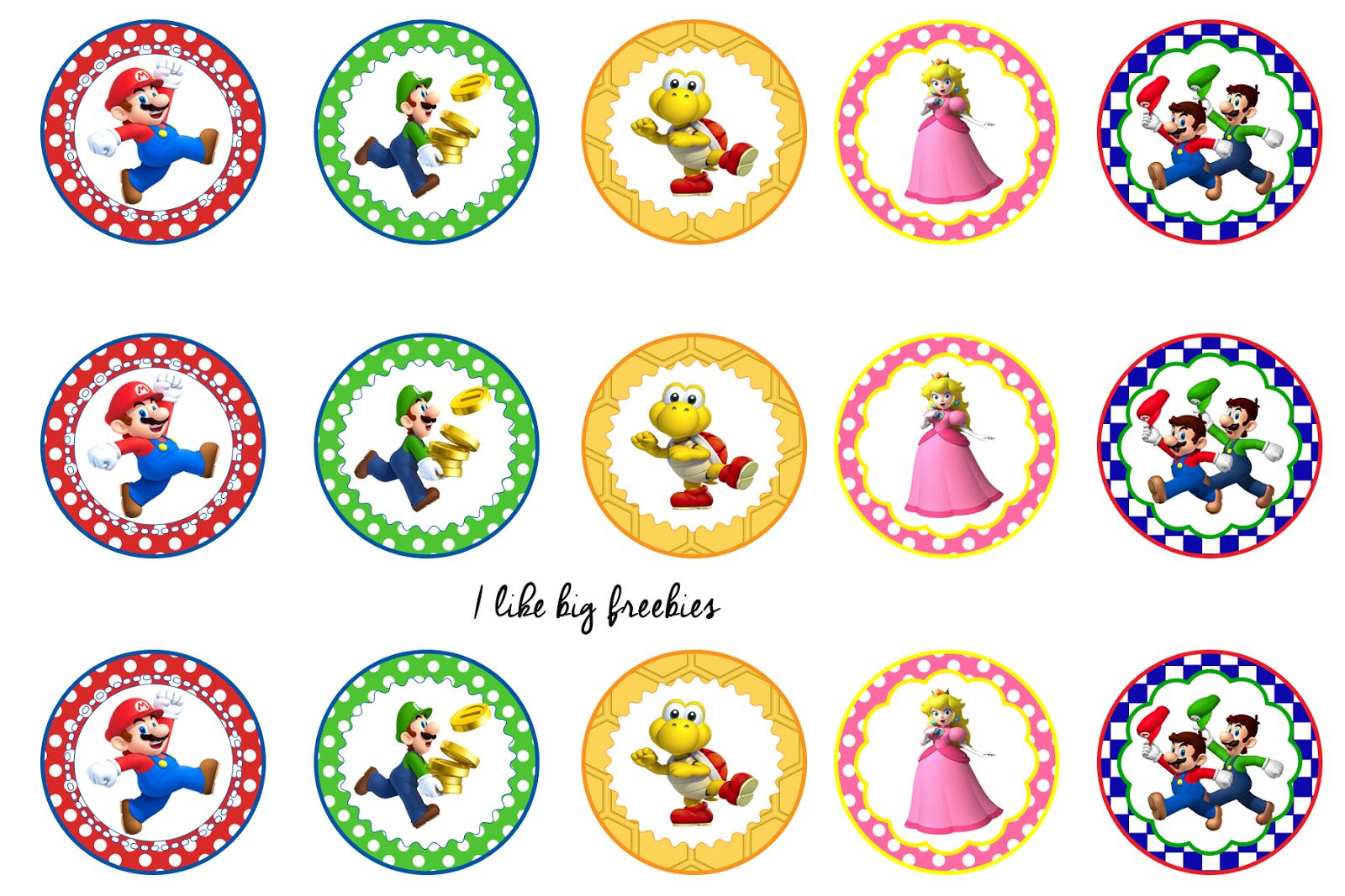 Super Mario Bros Bottlecap Images Cupcake Toppers Printable