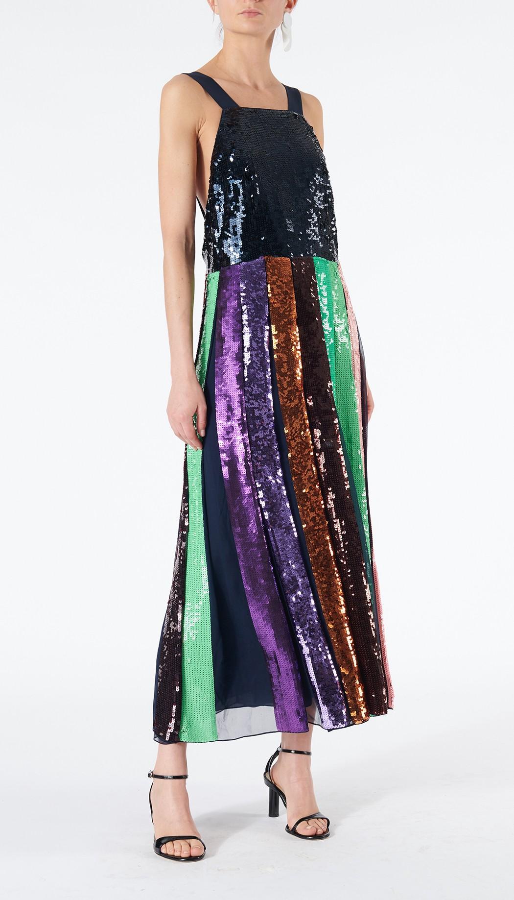 0ce4a1de228 Tibi Striped Sequined Overall Dress - 10