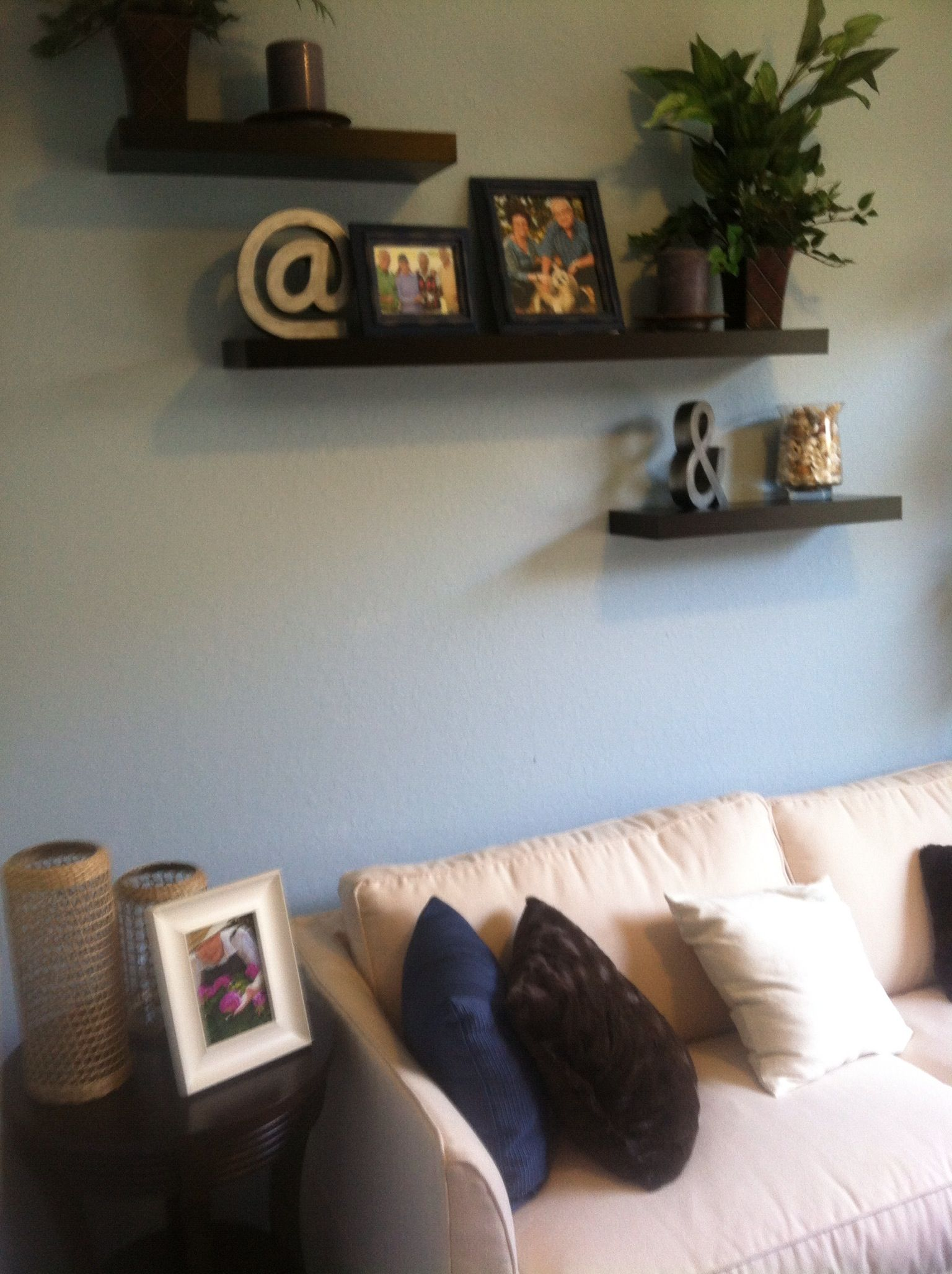 Staggered Shelves Above The Couch In Our R Room Home Decor House Interior Living Room Style