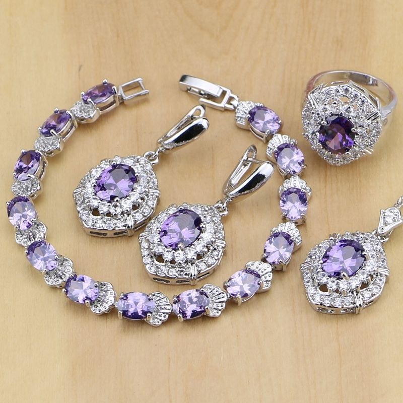 Classic Purple Cubic Zirconia White Crystal 925 Sterling Silver Jewelry Sets For Women Earrings Pend Womens Silver Jewelry Silver Jewellery Sets Purple Jewelry