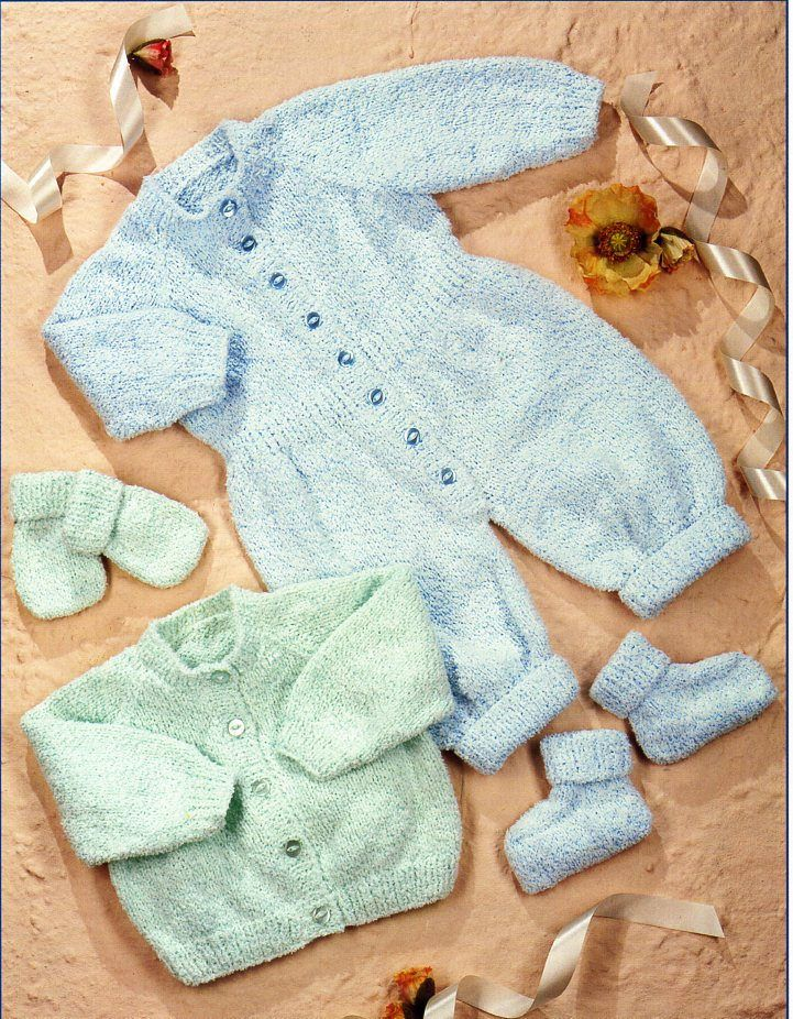Baby All In One Cardigan Mitts And Bootees Knitting Pattern Pdf Baby