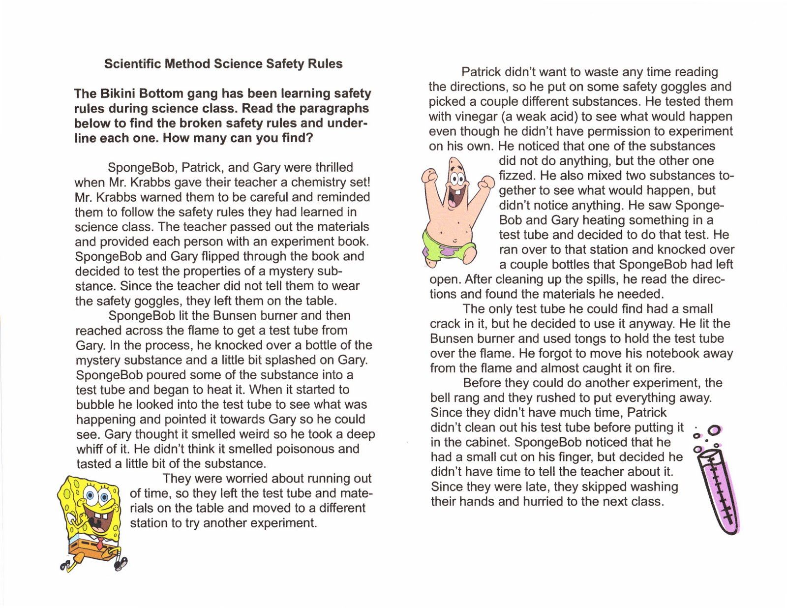 Printables Science Safety Worksheets science safety rules worksheet davezan spongebob google search general science