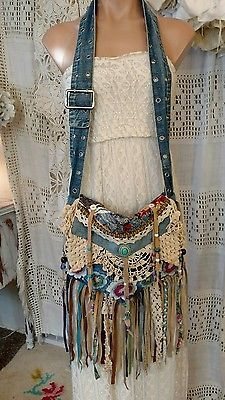 Details about Handmade Denim Vintage Lace Cross Body Bag Hippie Crochet Fringe Purse tmyers #gypsy