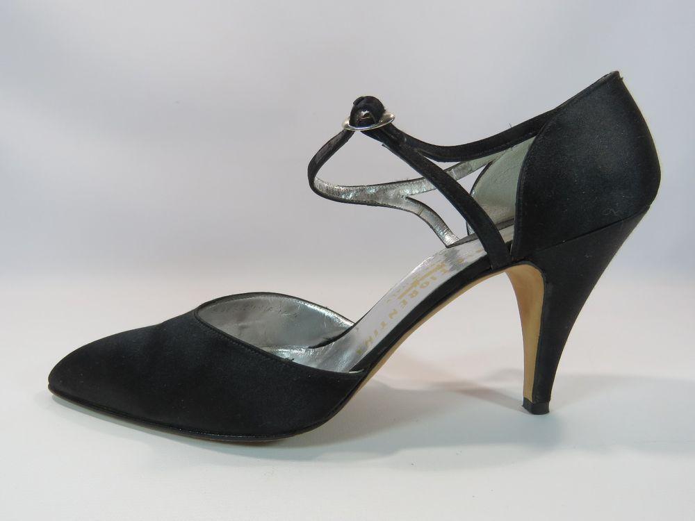Silvia Fiorentina Black Satin Heels Strap Size 9N HC #SILVIAFLORENTINA #PumpsClassics