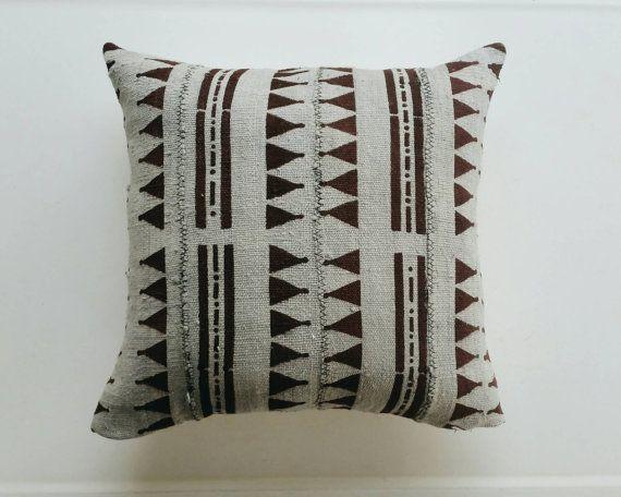 Grey and Brown Mudcloth Pillow Cover - Gray Boho Throw Pillow - Bohemian Pillows