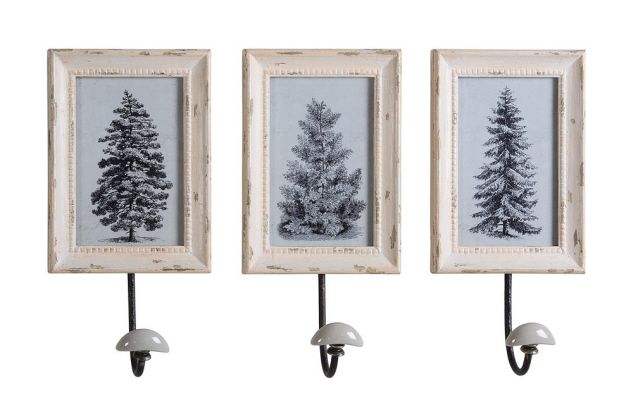 This French Country Picture Frame Coat Hook Set Features Three