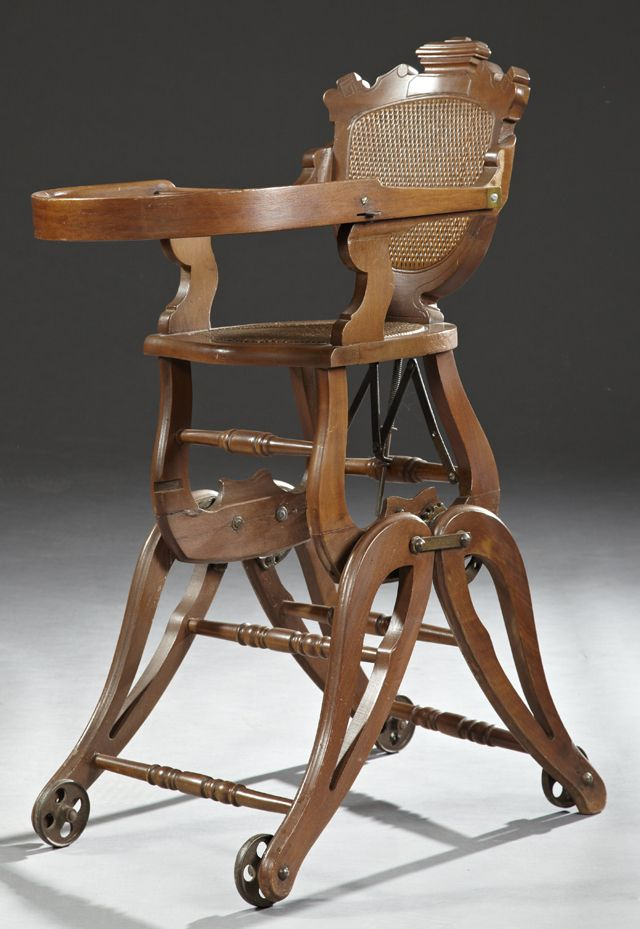 American Carved Walnut Collapsible High Chair c 1890