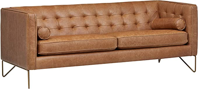 Amazon Com Amazon Brand Rivet Brooke Contemporary Mid Century Modern Tufted Leather Sofa Couch 82 W In 2020 Tufted Leather Sofa Modern Leather Sofa Tufted Leather