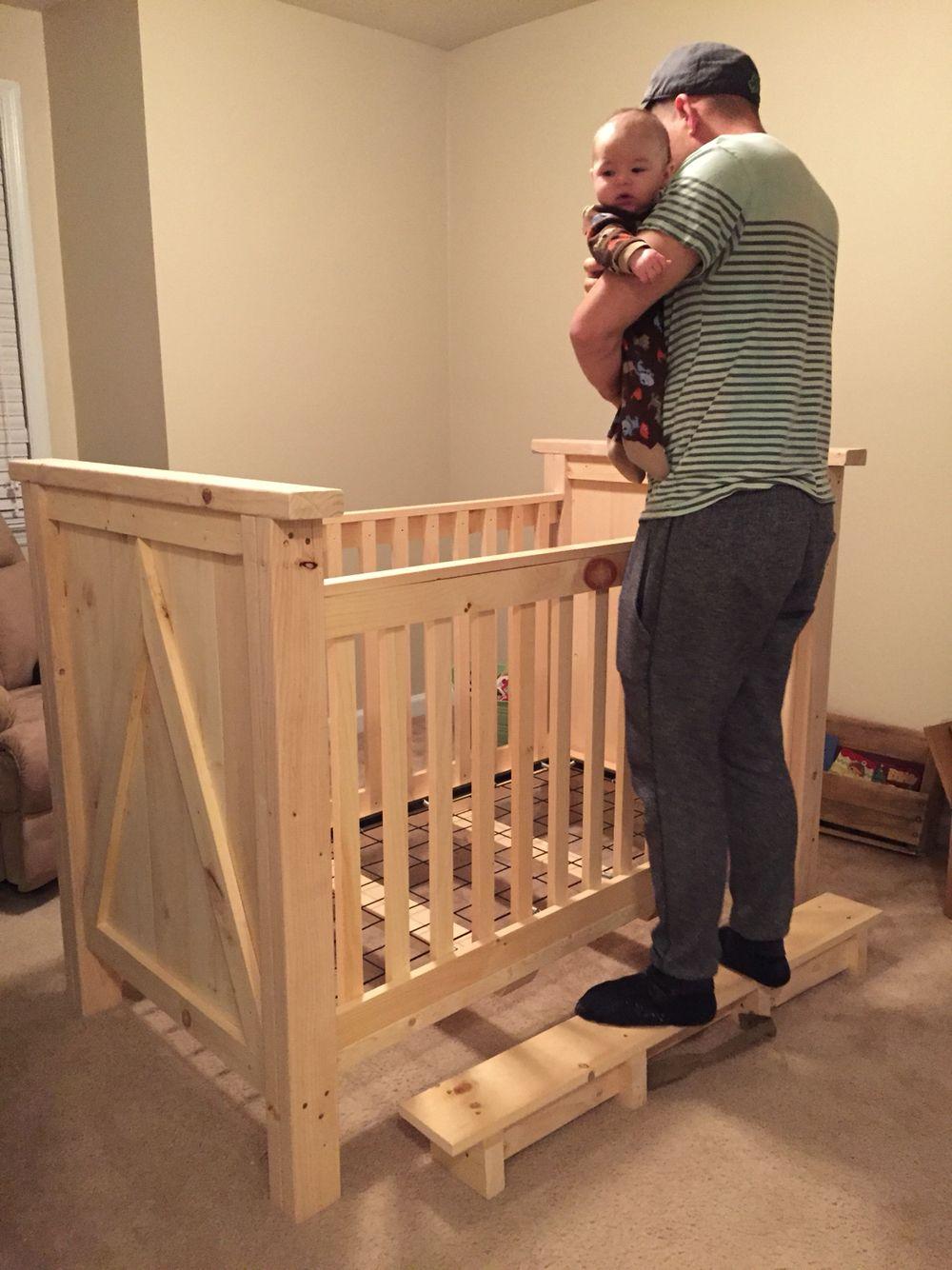 Home Made Pine Wood Crib Before Stain Diy Crib Diy Baby Furniture Baby Crib Diy Diy Crib