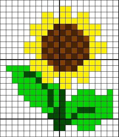 Sunflower Cross Stitch Flower Cross Stitch Perler Bead