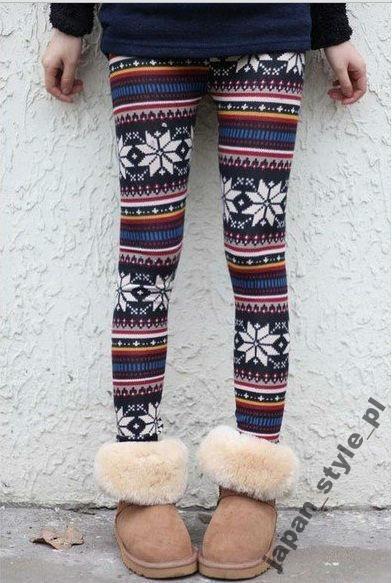 Legginsy Getry Styl Norweski Rozmiar Uniwersalny Snowflake Leggings Floral Leggings Aztec Pattern Leggings