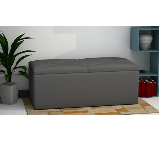 banc coffre de rangement syla gris banc coffre de rangement banc coffre et pouf. Black Bedroom Furniture Sets. Home Design Ideas