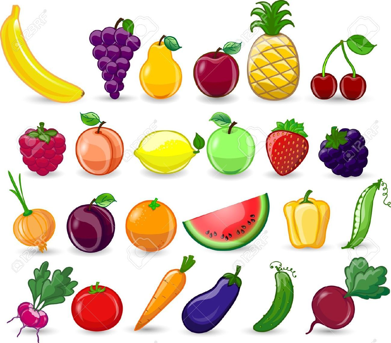 Stock Photo Ilustracao De Vegetais Fotos De Frutas Frutas
