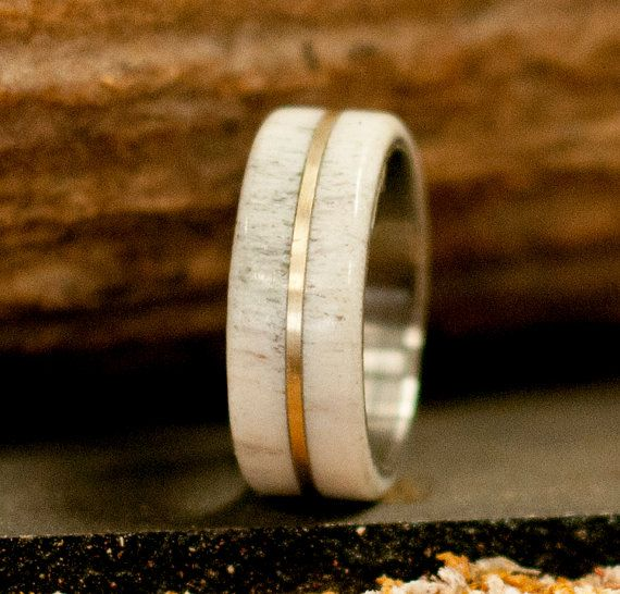 The Golden Mens Titanium Wedding Band Featuring Elk Antler