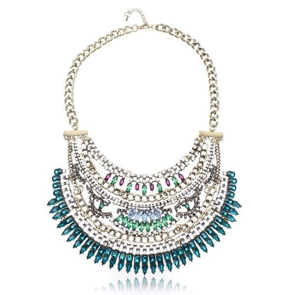 Style: Europe and America Type: Crystal Statement Necklace Material: Alloy Crystal Color: Black Blue White Red Chain Length: App 46+5.5cm Pendant Size: App 19(L)x10(W)cm Weight: About 188g Package Inc