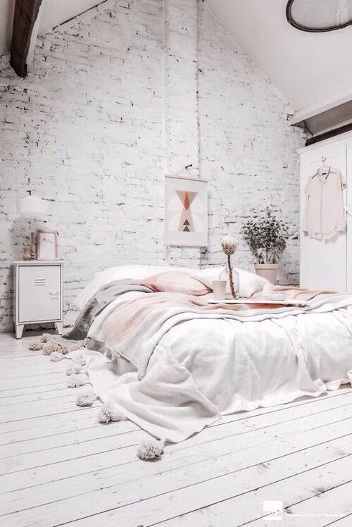 White Bedroom Rose Gold Decor Copper Boudoir Scandinavian