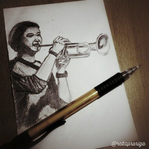 Guy with trumpet. #art #drawing #sketch #pencil #realistic #guy #trumpet #indonesia #music