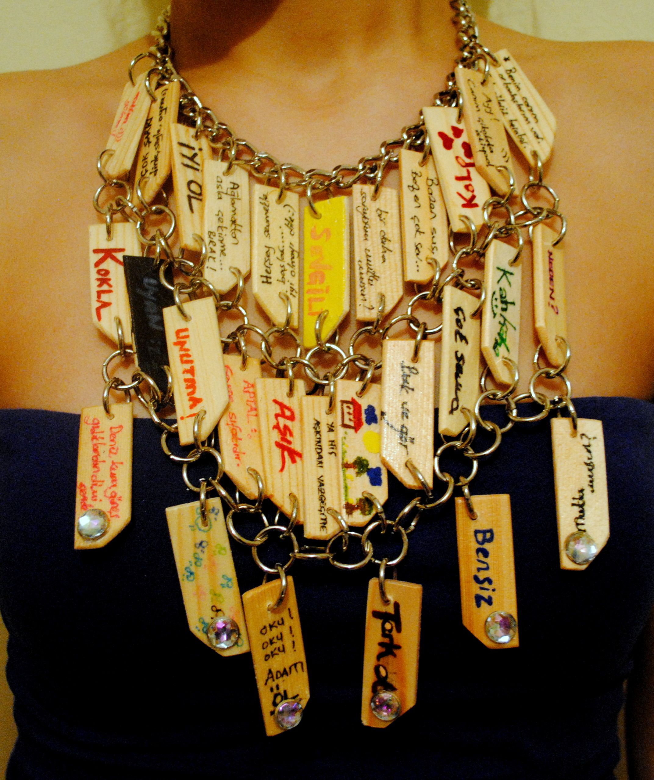 'İman tahtası' ahşap kolyem (my design wood necklace)