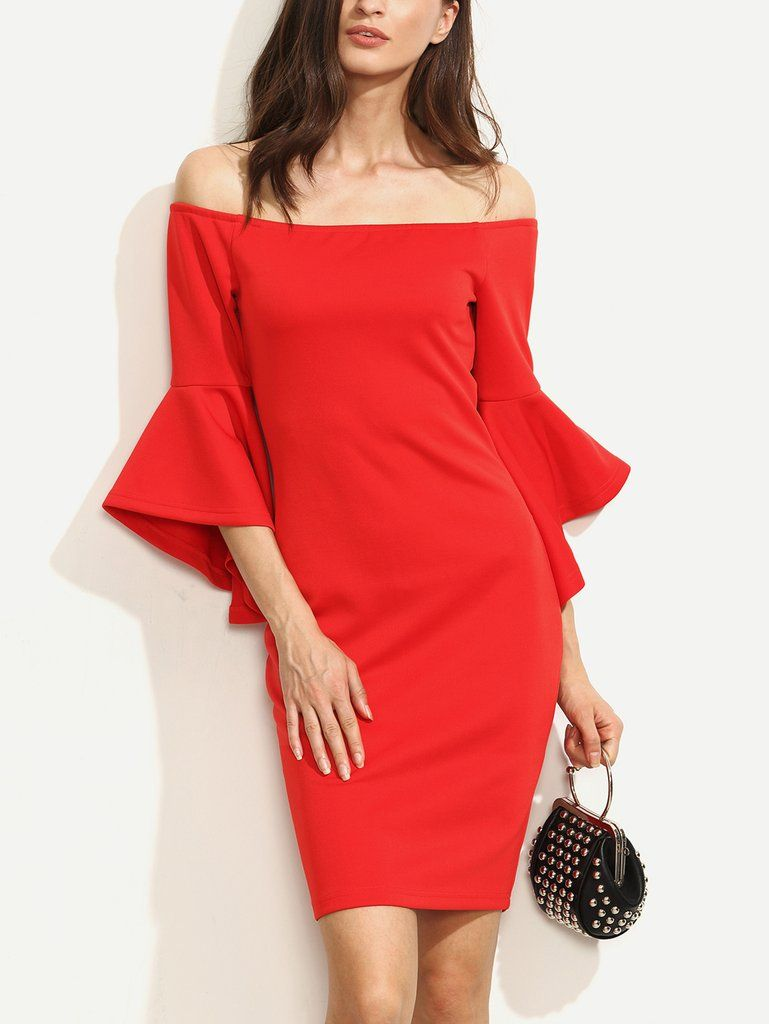 Red Bell Sleeves Off Shoulder Bodycon Dress-POSH GIRL-Posh Girl ...