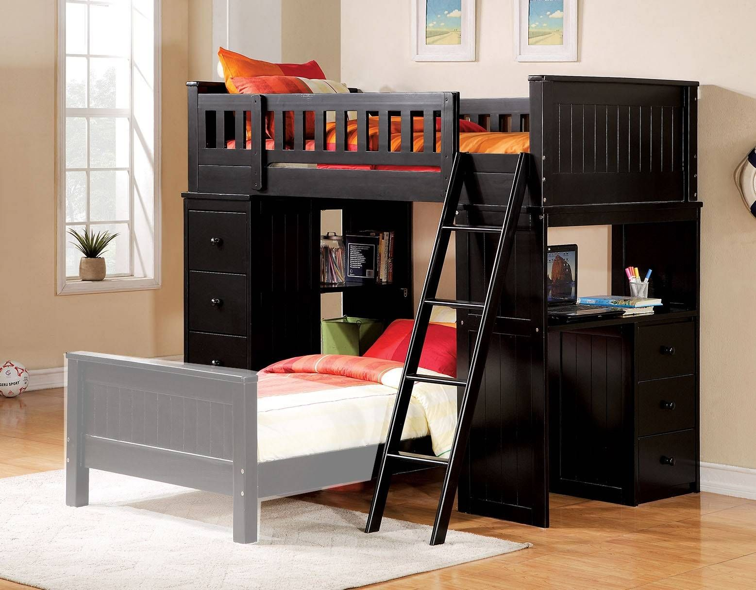 Boys loft bed with desk  Acme  Willoughby Black Kids Twin Loft Bed with Desk Chest