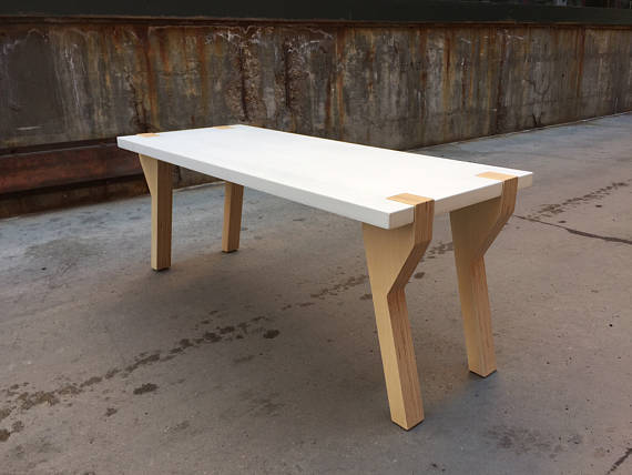White Concrete Coffee Table With Plywood Antelope Legs Stands 18 Tall Wide And 45 Long Made Gl Fiber Reinforced Gfrc
