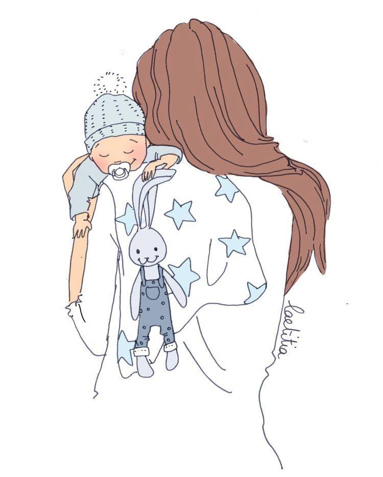 Mama Y Bebe Arte Infantil Ilustracion De Los Ninos Cosas Lindas Para Dibujar
