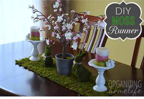 Spring Centerpiece With DIY Moss Table Runner