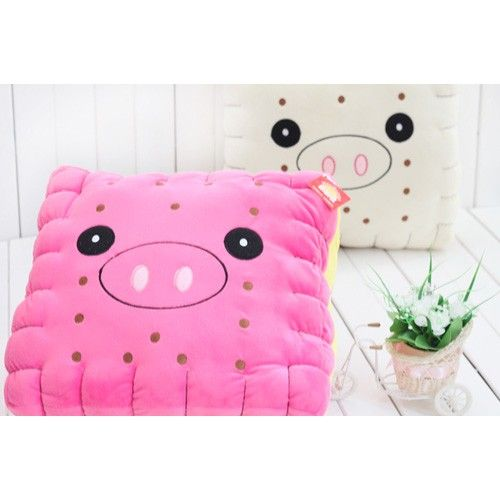 Stuffed Plush Toy Throw Pillow with Pig Face Pattern Sandwich Cookie Shape-15 Inch