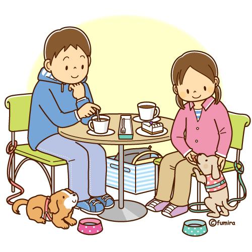 ドッグカフェでくつろぐ男女と犬のイラスト ソフト 子供と動物のイラスト屋さん わたなべふみ イラスト ソフト イラスト イラスト 男の子