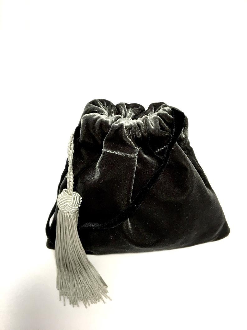 Handmade velvet sachet with 100/% recycled fabrics and vintage trim