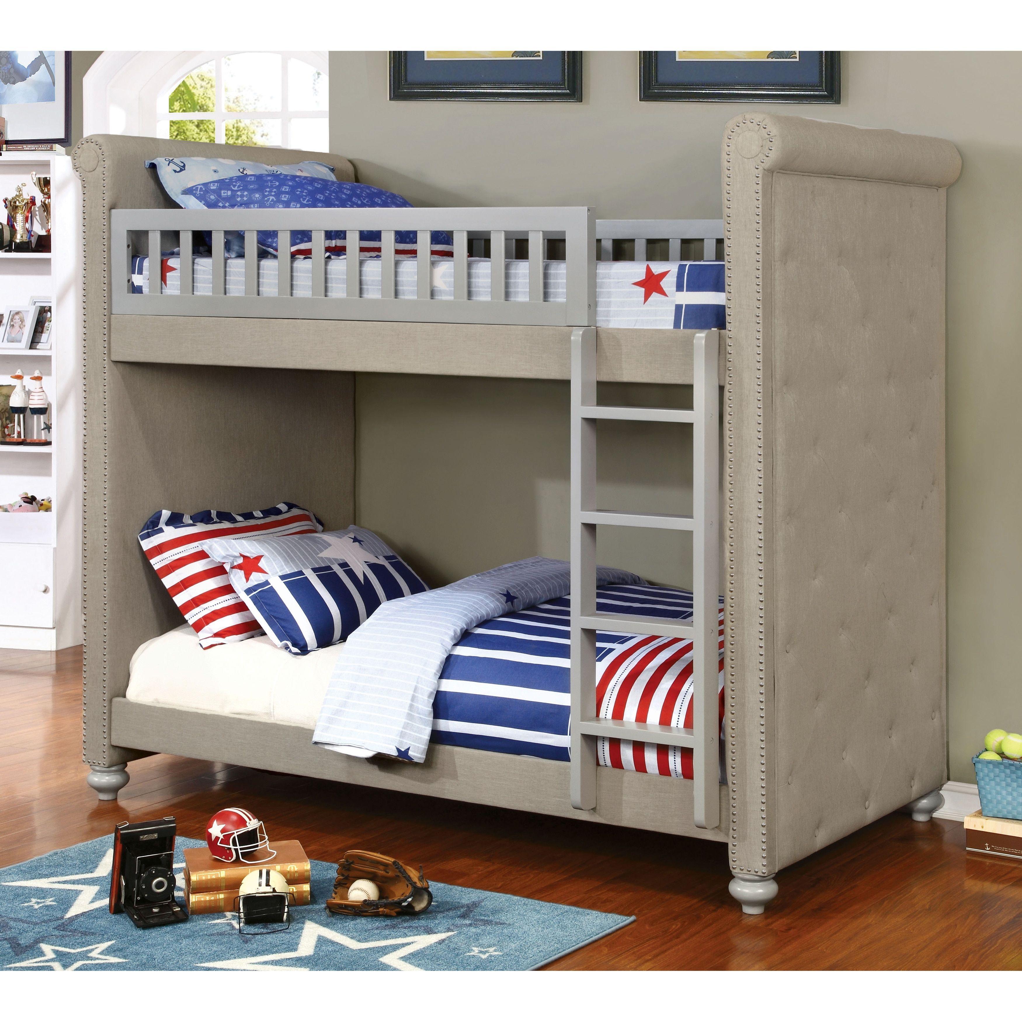 Furniture Of America Daylene Contemporary Twin Twin Grey Linen