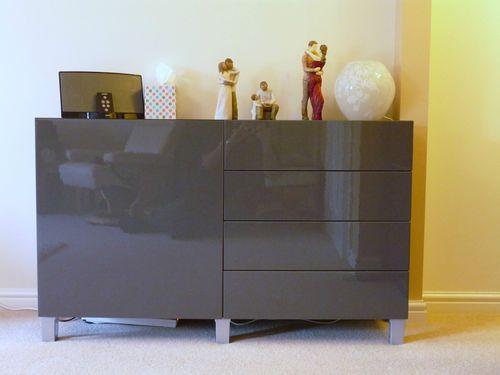 Ikea Burs Besta Sideboard Unit High Gloss Grey Ebay What And