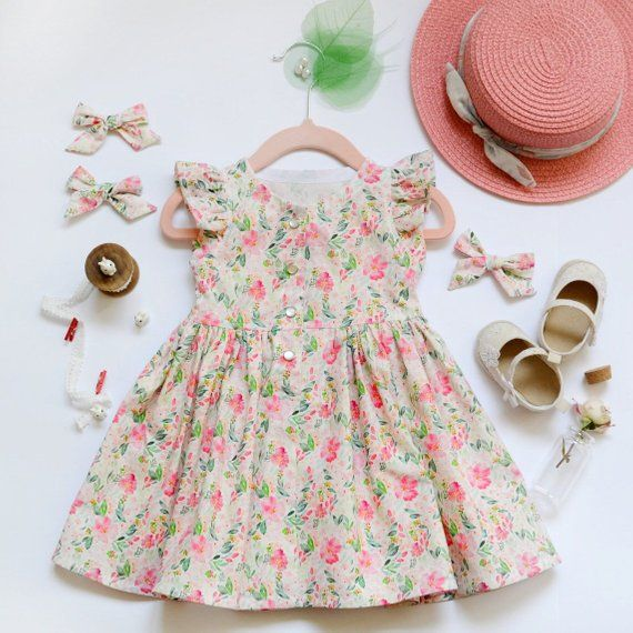 88fdd283a Vintage Baby Girl Dress With Flower Print