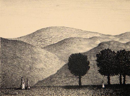 Väinö Rouvinen Italialainen maisema  1982 28x38 cm  grafiikka litografia