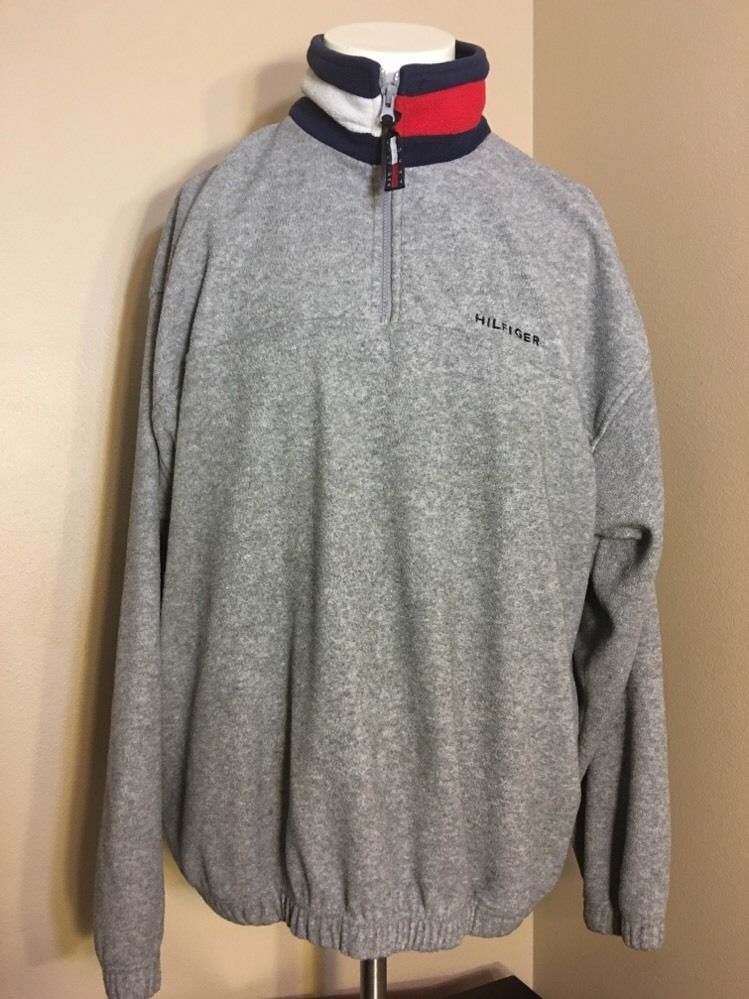 from $39.99 - Tommy #Hilfiger Grey Half Zip Polartec Big Logo ...