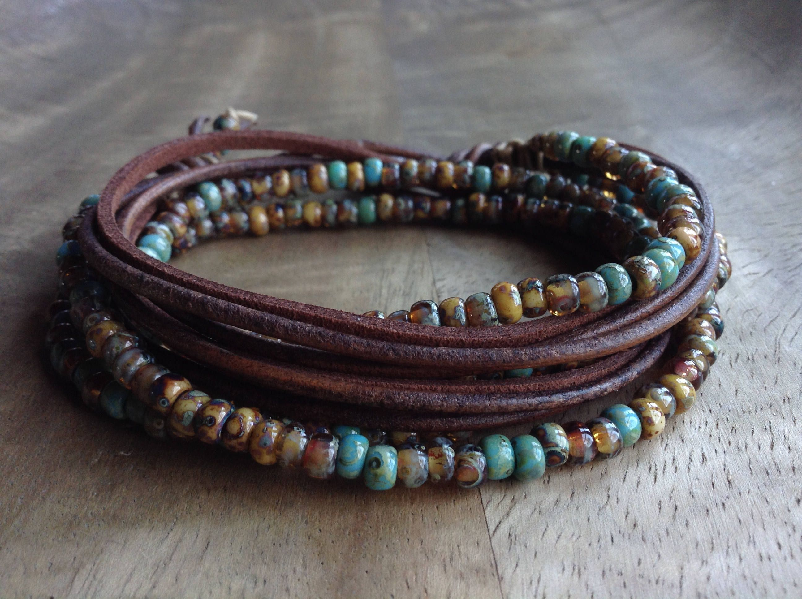 products bracelet ericaraedesigns leather amazonite beach quadruple wrap gemstone