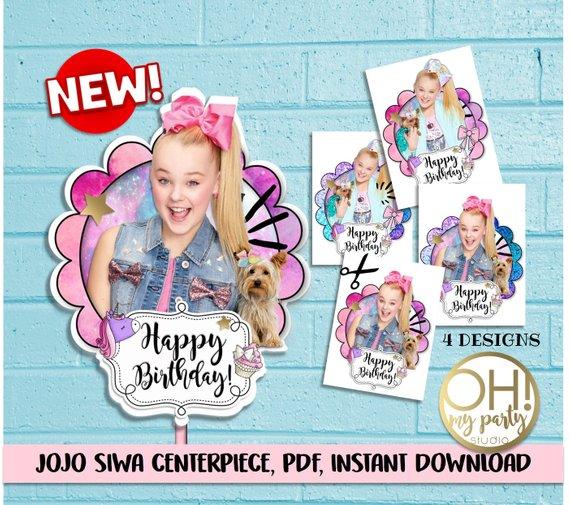 JOJO SIWA Center Piece Jojo Siwa Cake Topperjojo Partyjojo Birthday Printabl