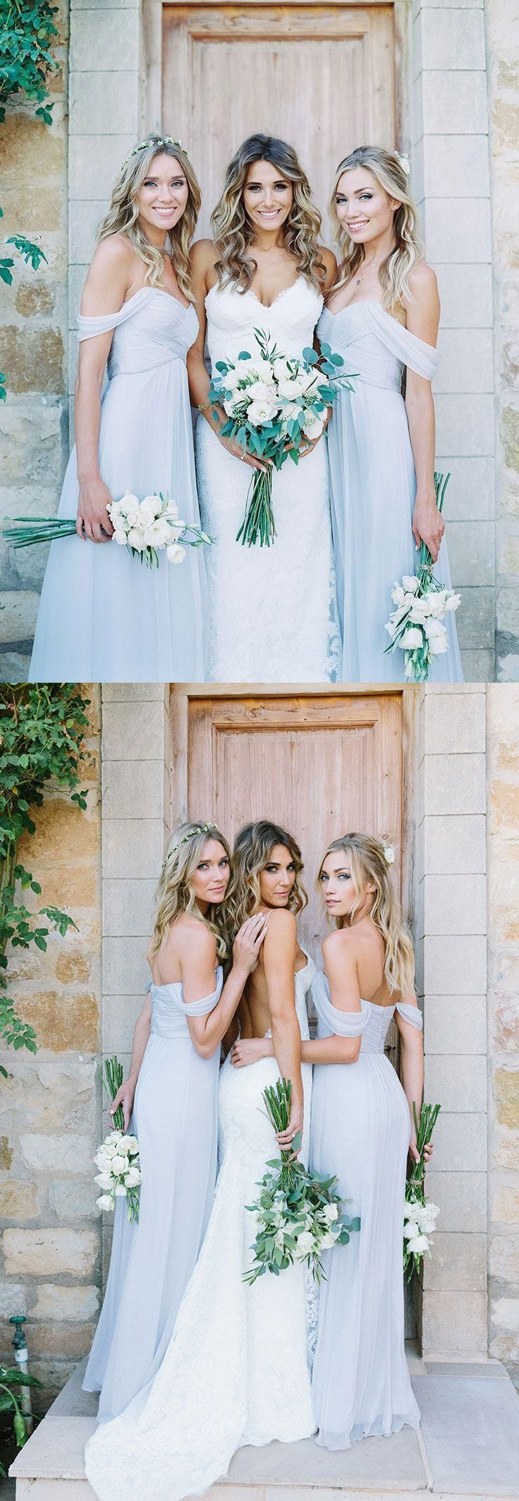 Elegant Baby Blue Off the Shoulder Long Bridesmaid Dresses for Wedding Party