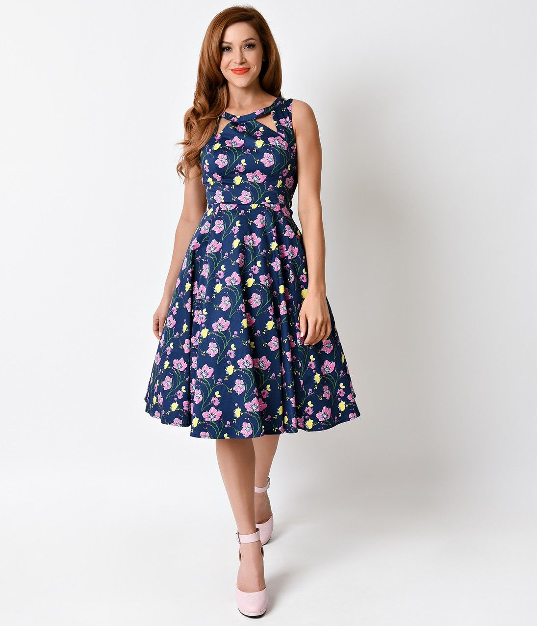 1950s Navy Floral Cutout Sleeveless Billie Stretch Swing Dress