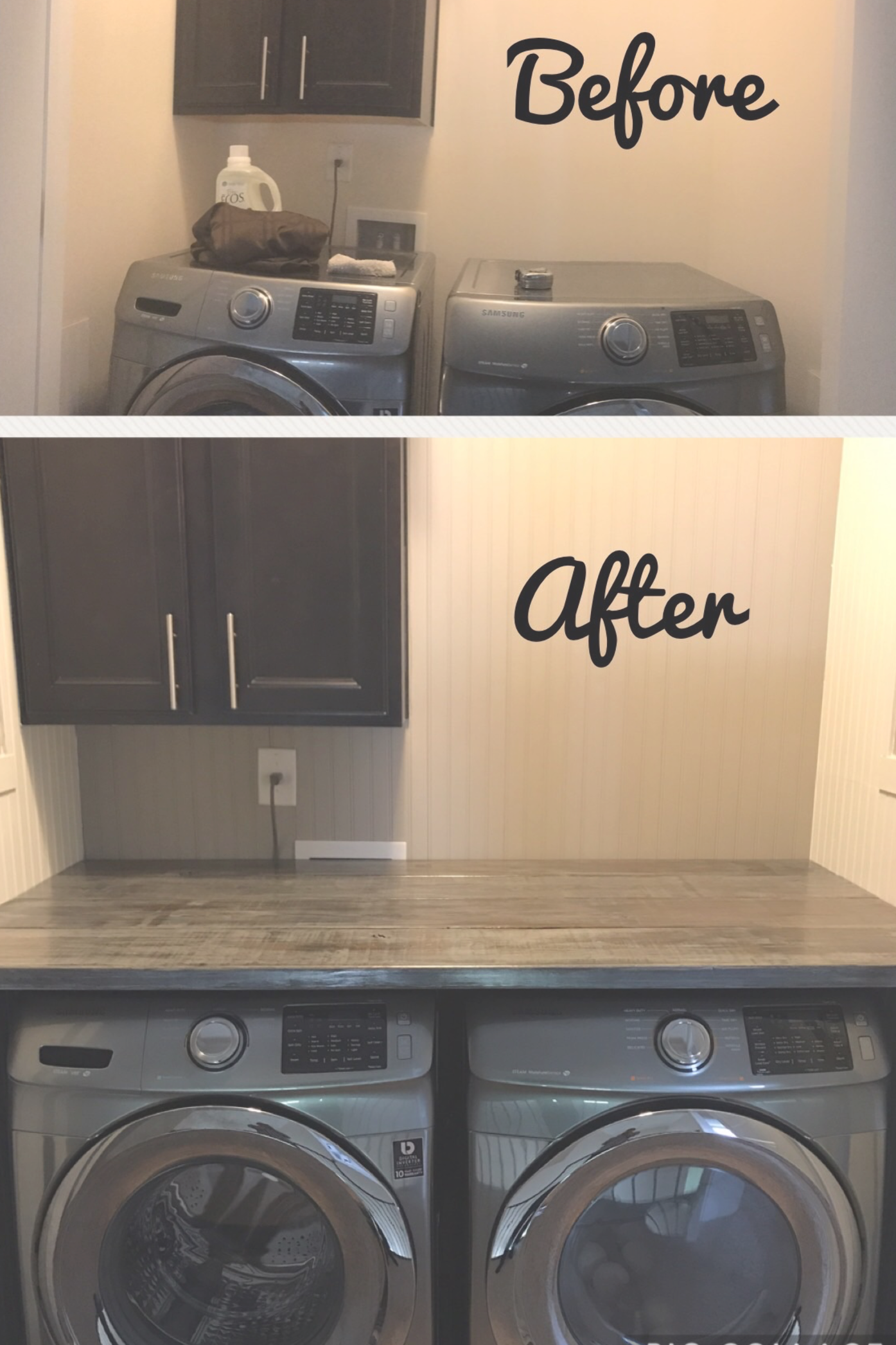 Laundry Room Makeover DIY Farmhouse Weathered Boards and Panelled Walls