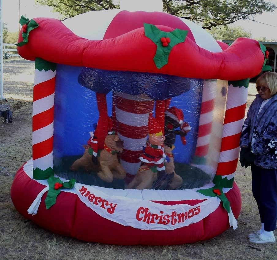 Gemmy Inflatable Carousel Merry Go Round 7ft Outdoor Christmas Decoration