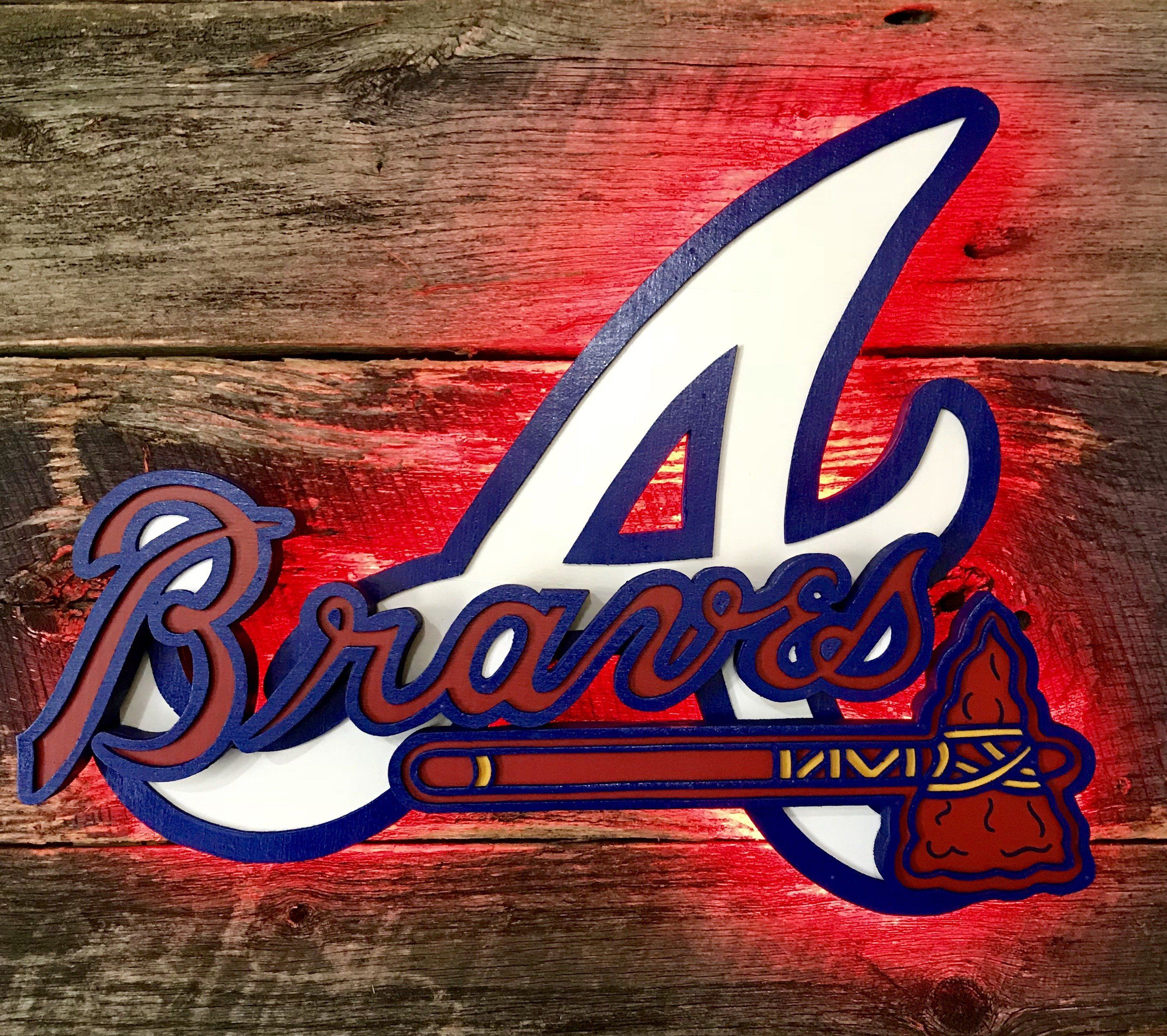 Atlanta Braves Wooden Wall Decor With Images Wooden Wall Decor Wooden Walls Atlanta Braves