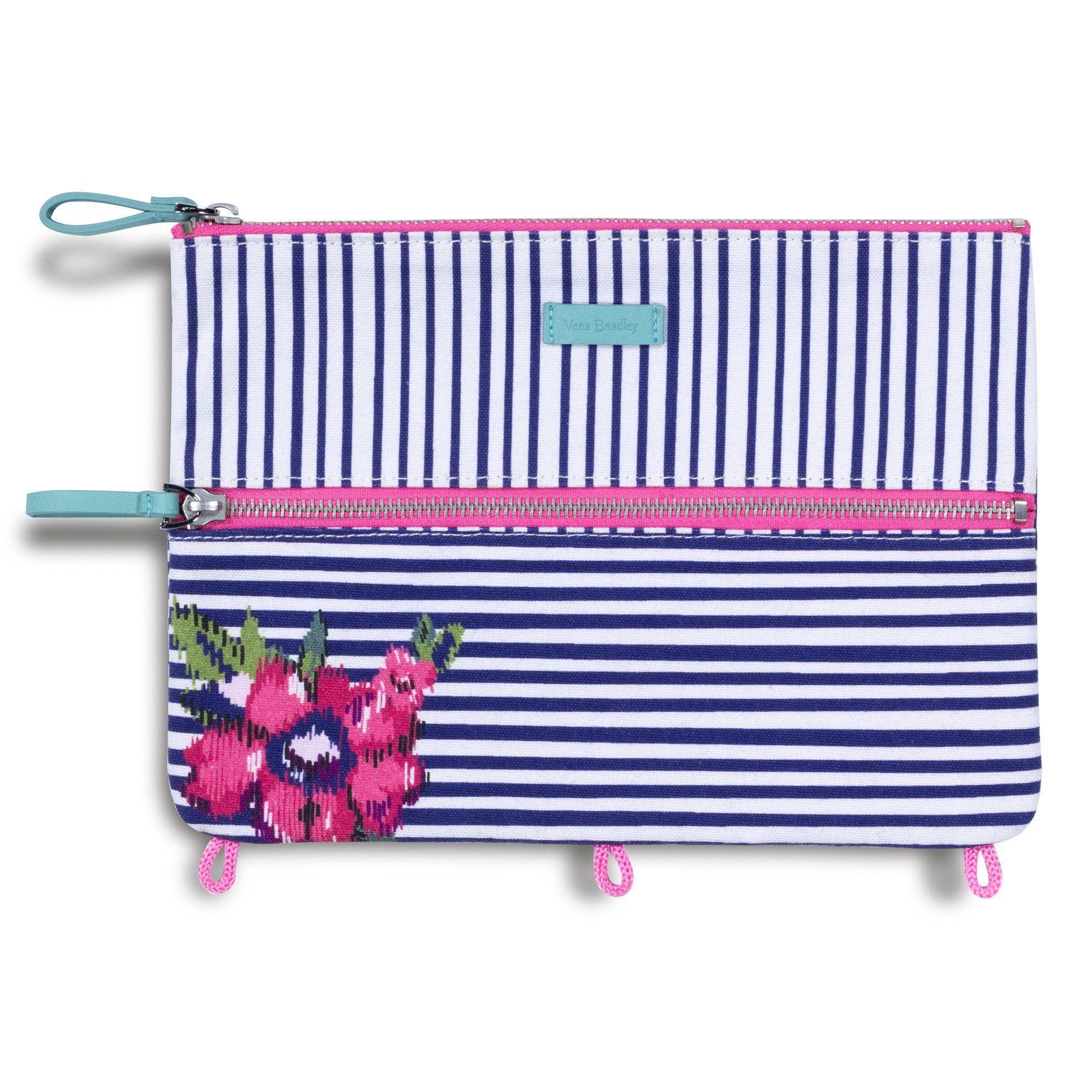 Vera Bradley Pencil Pouch, Water Bouquet Stripe In 2019