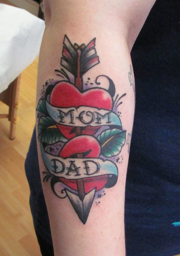 Mom Dad Heartbeat Tattoo: 35+ Awesome Heart Tattoo Designs