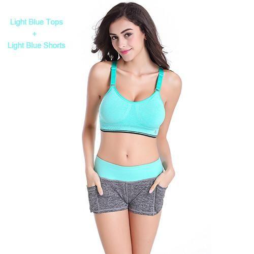 6213bf9cc0 Women Yoga Sets Running Sports Bra + Shorts Set Fitness Gym Push Up Seamless  Bras Tops Elastic Short Pants for Women
