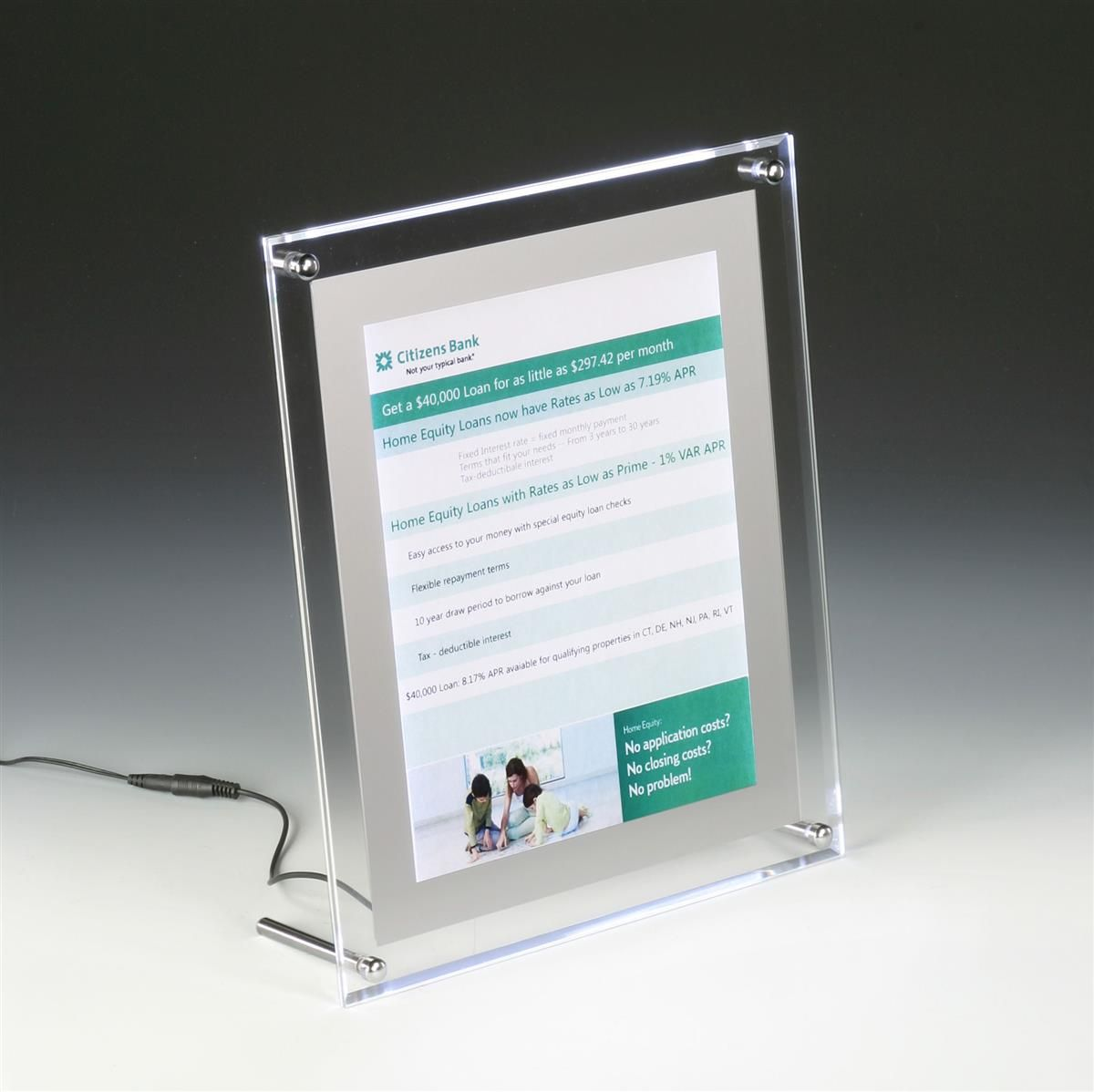 11 X 17 Sign Holder W Led Lights Wall Mount Or Tabletop Standoff Hardware Clear