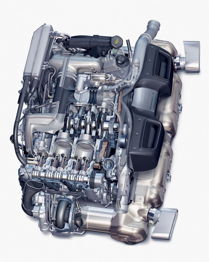 porsche turbo engine cutaway