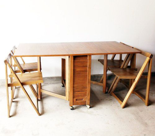 Danish Modern Drop Table W Folding Chairs By Caughtmyeyecandy
