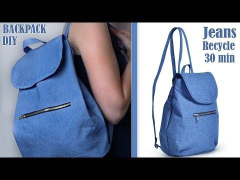Diy Old Jeans Recycle Into Cute Backpack Tutorial Handmade