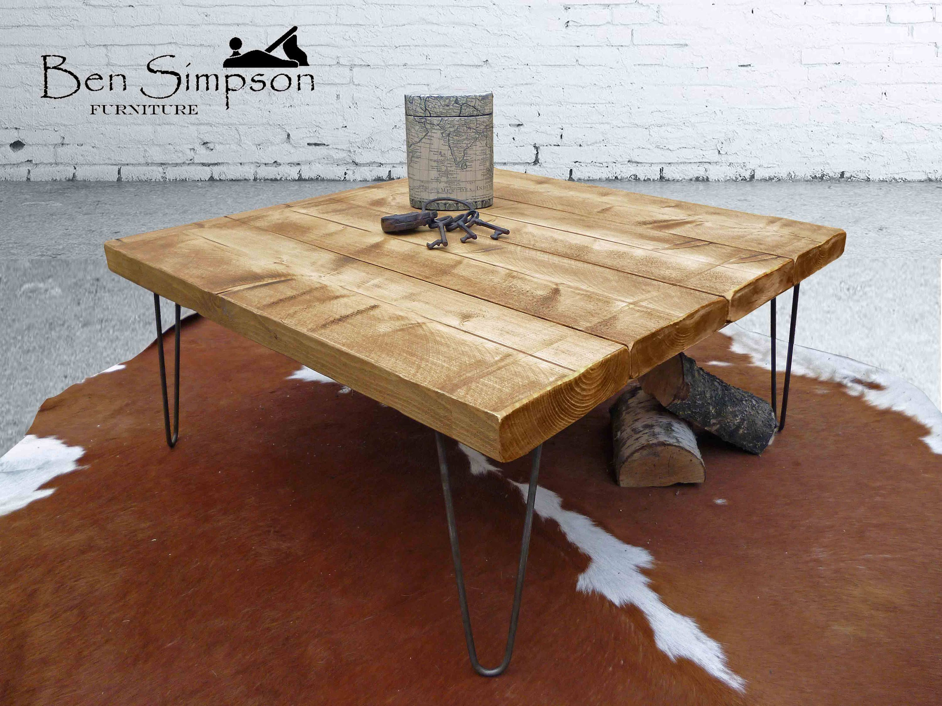 Rustic Coffee Table With Industrial Hairpin Legs Handcrafted Using Solid Wood 35cm Height Ben Simpson Furniture Square Wooden Coffee Table Coffee Table Rustic Coffee Tables